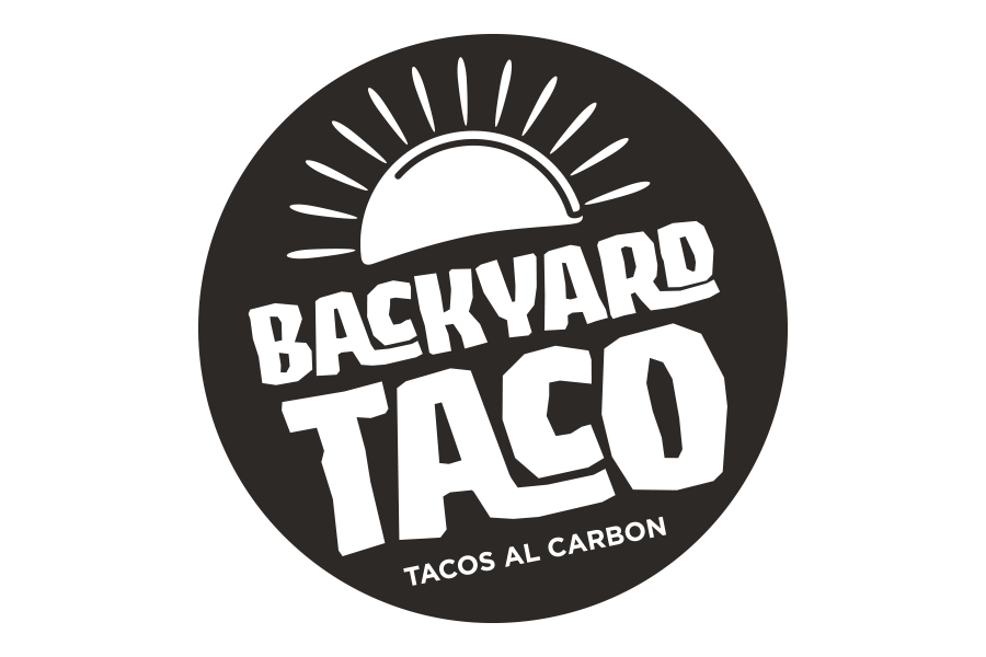 Backyard Taco (Tacos al Carbon) Logo in B&W